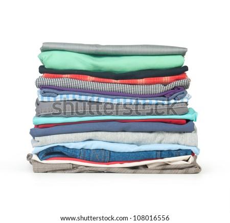 stack of clothing isolated on white - stock photo