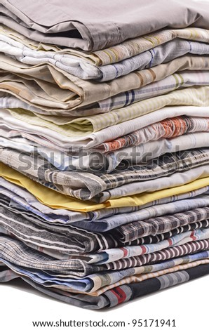 stack of clothing,shirt, isolated on white - stock photo