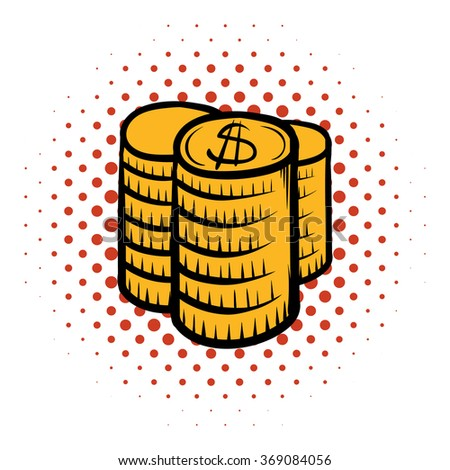 Stack of coins comics icon on a white background - stock photo