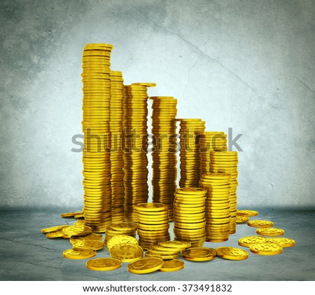 Stack of coins grey