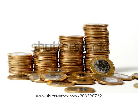 stack of coins in white background - stock photo