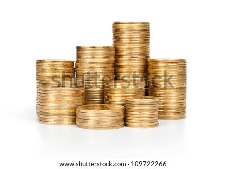 stack of coins isolated on white - stock photo
