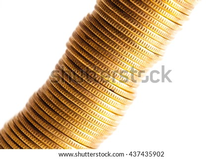 Stack of coins isolated with white background. Studio shot - stock photo