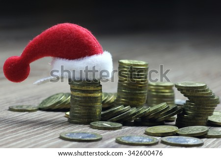 stack of coins new year - stock photo