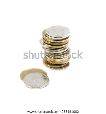 stack of coins on isolated object - stock photo