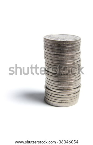 Stack of Coins on Isolated White Background
