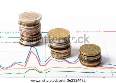 Stack of coins with graphs