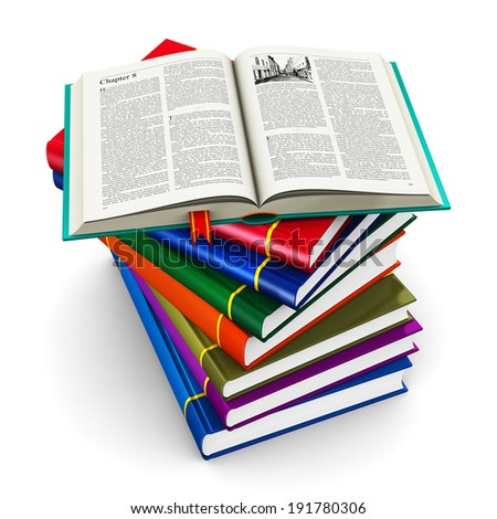 Stack of color hardcover books - stock photo