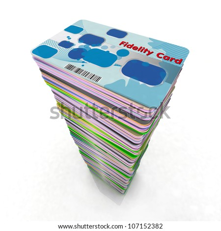 stack of colored fidelity cards, 3d illustration - stock photo