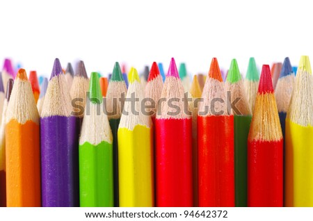 stack of colored pencils - stock photo