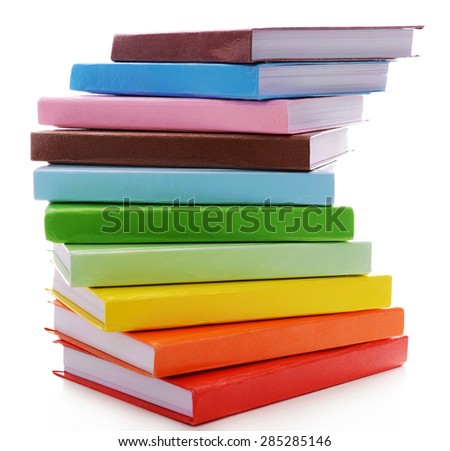 Stack of colorful books isolated on white - stock photo