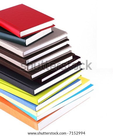 Stack of colorful books, isolated on white.