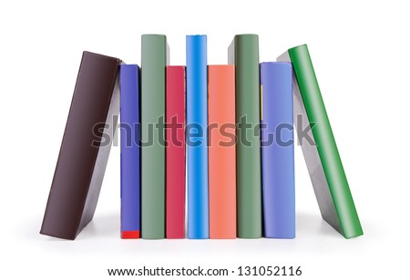 Stack of colorful books on white background. - stock photo