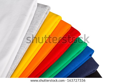 stack of colorful cotton fabric - stock photo