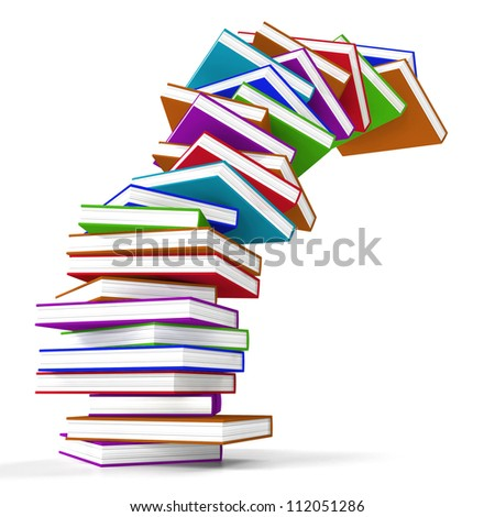 Stack Of Colorful Falling Books Represents Learning And Education