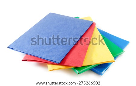 Stack of colorful file folders  on white background - stock photo