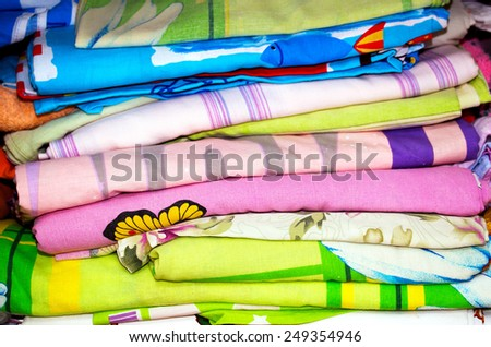 stack of colorful sheets - stock photo