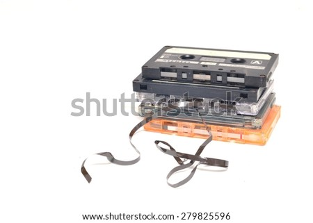 stack of compact cassettes isolated on white background  - stock photo