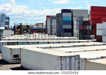 Stack of containers at the port of Auckland, New Zealand - stock photo