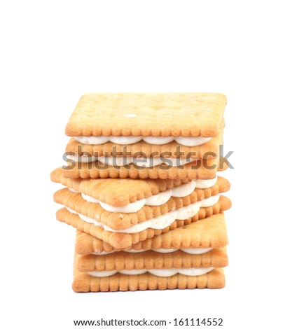 Stack of cookies. Isolated on a white background.