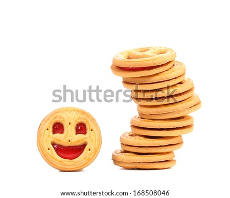 Stack of cookies with smile. Isolated on a white background.