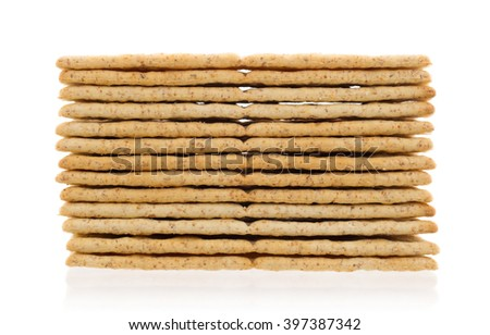 Stack of crackers isolated on a white background