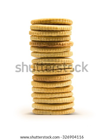 Stack of crackers isolated on white background with work path