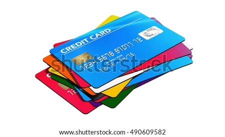 stack of Credit Cards  isolated on white background - 3d rendering