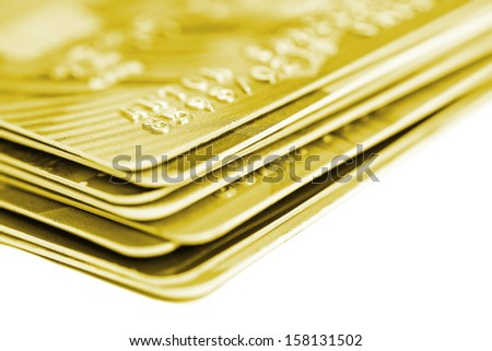 Stack of credit cards on white background - stock photo