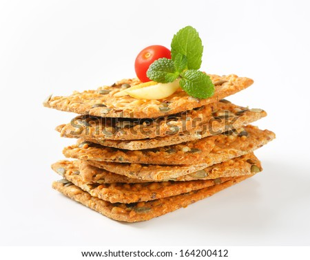 stack of crispy bread with apple and tomato - stock photo
