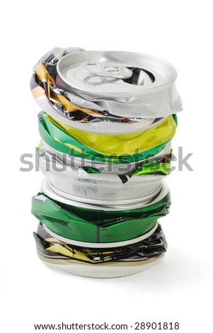 Stack of crushed aluminum cans on white background - stock photo