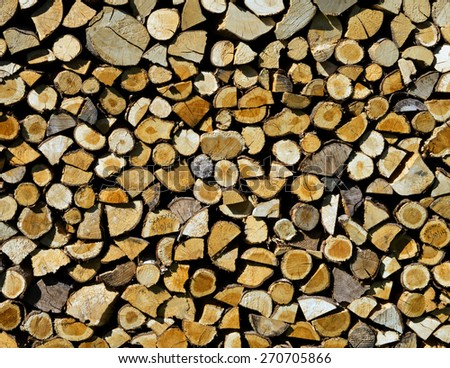 Stack of cut logs - stock photo