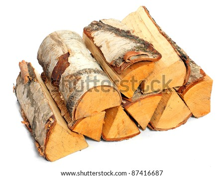Stack of cut logs fire wood from Silver Birch tree (Betula pendula). Renewable resource of a energy. Environmental concept. - stock photo