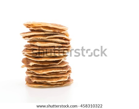 Stack of delicious pancakes on white background