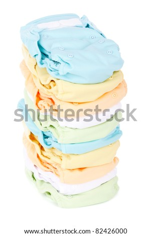 stack of diapers isolated on white background