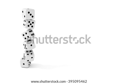 Stack of dice on a white background - stock photo