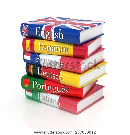 Stack of dictionaries, learning foreign language - stock photo