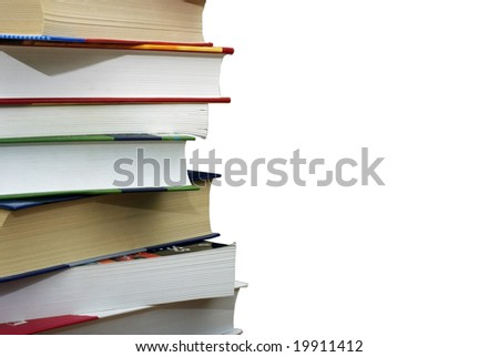 Stack of different books isolated on the wgite background. Clipping path. - stock photo