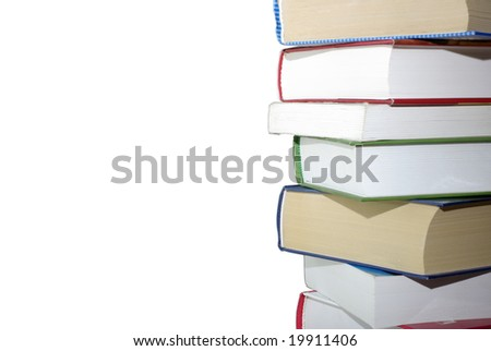 Stack of different books isolated on white background. Clipping path. - stock photo