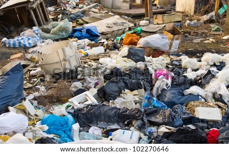 Stack of different types garbage - stock photo