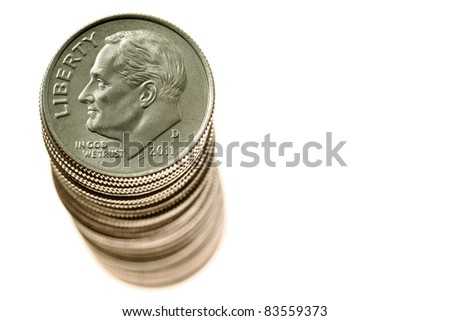 Stack of dimes - stock photo