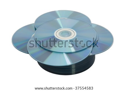Stack of disks on white in a flower shape - stock photo