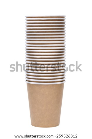 Stack of disposable paper cup isolated on white background - stock photo