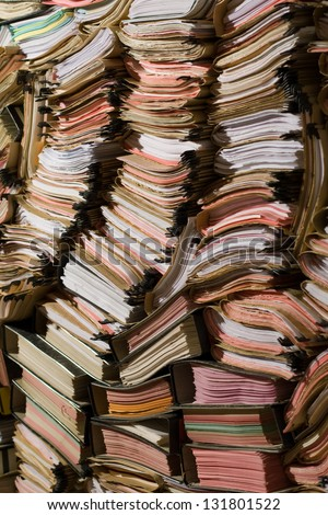 Stack of documents, papers and full binders - stock photo