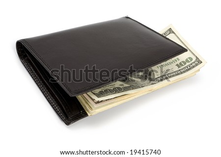 Stack of dollar banknotes in black wallet isolated on white. Clipping path incl.