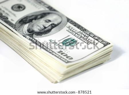 Stack of dollar bills - stock photo