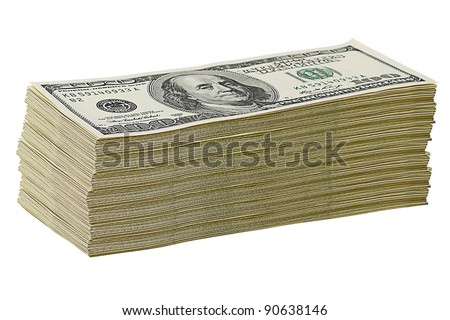 Stack of $100 dollar bills. Isolated on white background - stock photo