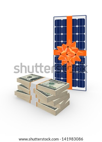 Stack of dollars and solar battery.Isolated on white.3d rendered.