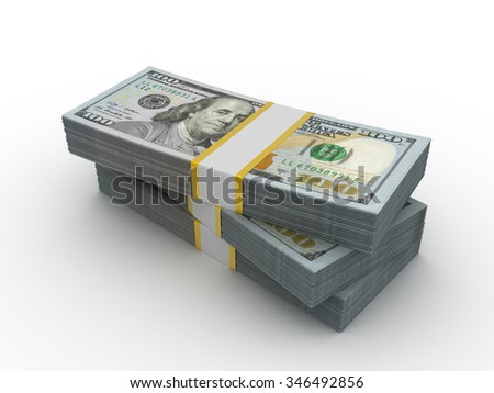 Stack of dollars. 3d render isolated on white background