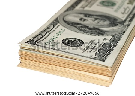 stack of dollars isolated on white background